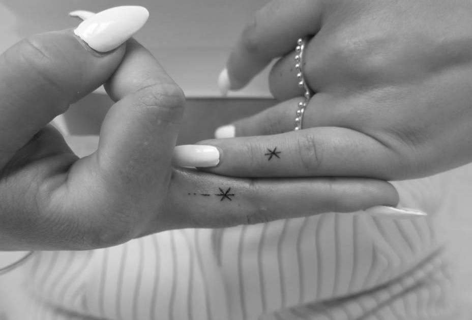 hand poked tattoo stars