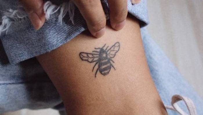 stick and poke tattoo bee